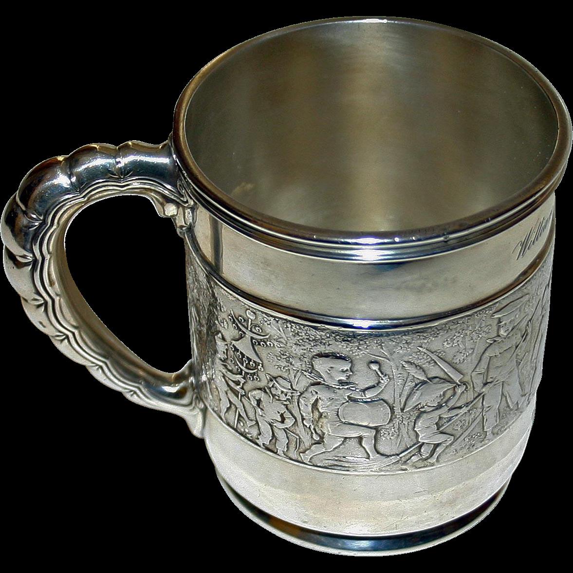 "1908 Tiffany Sterling Antique Mug ""Children's Parade"" William Richard Brown"