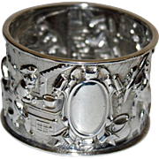 Antique Sterling Napkin Ring with Scenes of Cooking in Manor House - Great Detail
