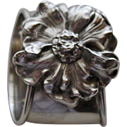 La Pierre Antique Sterling Silver Napkin Ring, Large Applied Flower