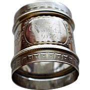 Antique Gorham Coin Silver Napkin Ring Engraved & Dedicated 1876, Made 1852-1865