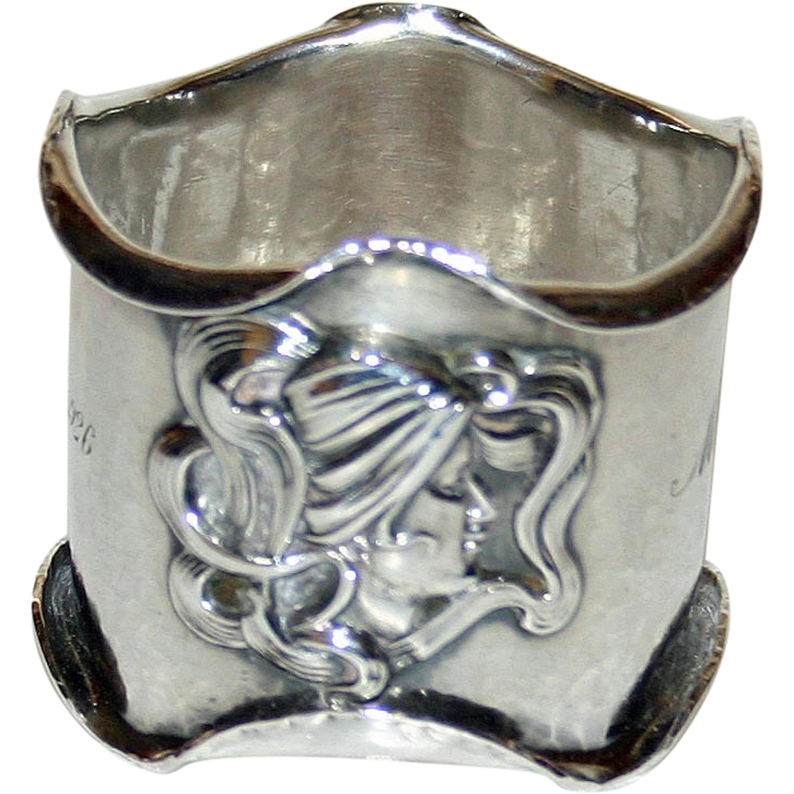 Antique Kerr Sterling Napkin Ring with Art Nouveau Beauties
