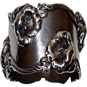 Shreve  Antique  Sterling Napkin Ring with Lush Art Nouveau Flowers