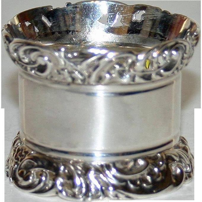 English Sterling Hallmarked Napkin Ring 1901 Very Heavy by Atkin