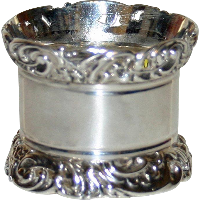 1901 English Sterling Hallmarked Napkin Ring by Harry Atkin-Very Heavy