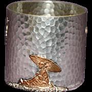 Antique Gorham Sterling Napkin Ring, Mixed Metal, Stunning