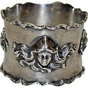Antique Sterling Napkin Ring Art Nouveau Women's Heads, Flowing Hair