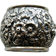 Antique Heavy American Sterling Napkin Ring with Repousse Old-fashioned Roses and Other Blooms