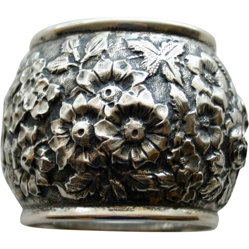Antique Heavy Sterling Napkin Ring with Repousse Old-fashioned Roses and Other Blooms