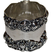 c.1900 Antique Gorham Sterling Silver Napkin Ring, Pond Lilies