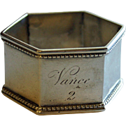 Antique Coin Silver Napkin Ring - Vance, c. 1875