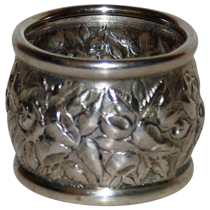 Antique Kirk & Son Repousse Sterling Napkin Ring - Heavy