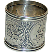 Antique (1882) Gorham Sterling Napkin Ring - Dressed Children & Eggs - Spectacular