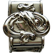 Antique american Sterling Napkin Ring - Art Nouveau Woman with Flowing Hair by La Pierre, New York