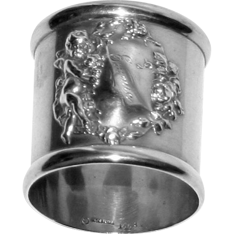 Antique Footed Sterling Napkin Ring with Cherub & Roses by Woodside