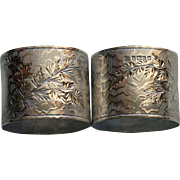1878 Antique Sterling Pair English Napkin Rings, Hallmarked, Bright Cut, Martin & Hall