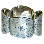 "English Hallmarked Sterling Napkin Ring, 1893, Monogram ""U"",  by Edward Hutton,, London"