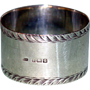 English Hallmarked Sterling 1927 Napkin Ring, Birmingham, by William Haseler