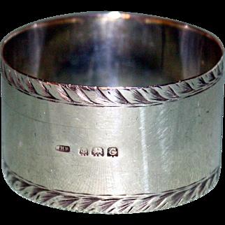 English Hallmarked Sterling 1927 Napkin Ring, Birmingham,by William Haseler