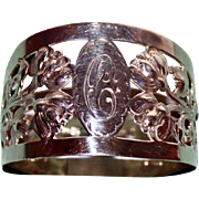 1929 Hallmarked Sterling Napkin Ring with Peonies by Walker and Hall