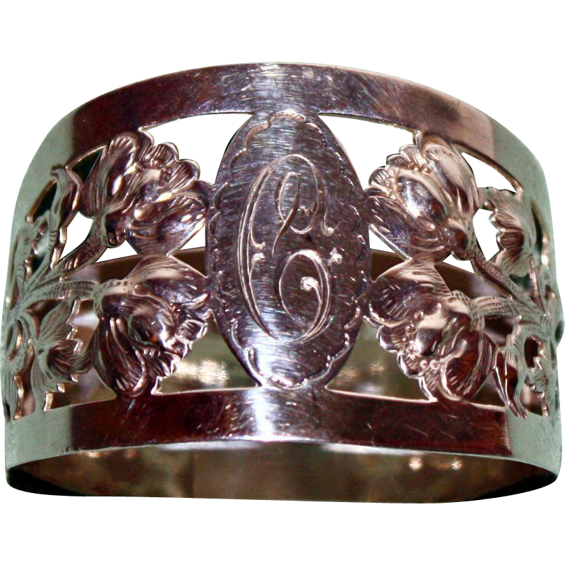 1929 Hallmarked Floral Sterling Napkin Ring by Walker and Hall