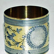 Antique Coin Silver Napkin Ring with Gold Wash c. 1875