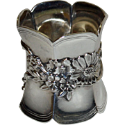 Antique Sterling Napkin Ring with Applied Floral Decoration - Heavy