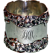Antique American Sterling Gorham Napkin Ring with Water Lilies