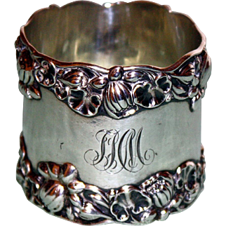 Antique Sterling Gorham Napkin Ring with Water Lilies