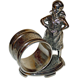Antique Figural Napkin Ring: Barefoot Girl with Kerchief & Apron, Willaim Rogers Co.
