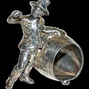 Antique Figural Napkin Ring- Cooper with Barrel