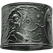 Antique Coin Silver Napkin Ring with Cherubs Riding Dolphins & Musical Cherubs