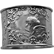1901 English Hallmarked William Comyns Sterling Napkin Ring with Cherubs