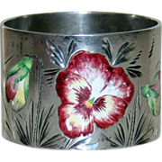 Antique American Sterling & Enamel Napkin Ring, Pansies. by Campbell-Metcalf Silver Co.