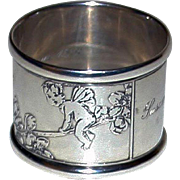 Tiffany 1936 American Sterling Napkin Ring with Fairies - Extraordinary