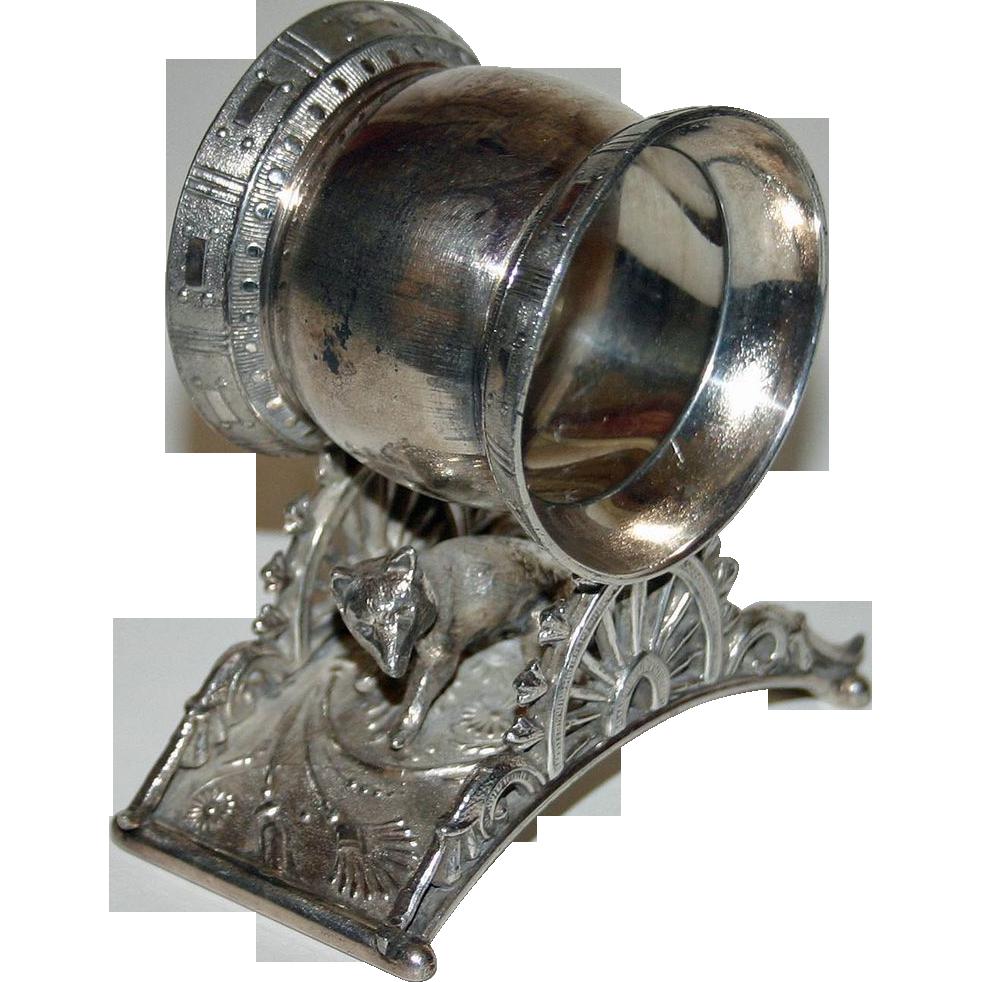 Antique Figural Napkin Ring - Fox on Bridge