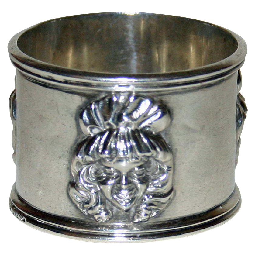 Antique Sterling Napkin Ring - Girl in Bonnet