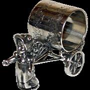 Antique Greenaway Girl Pulling Cart Figural Napkin Ring