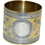 Coin Silver Antique Napkin Ring w Gold Wash c. 1875