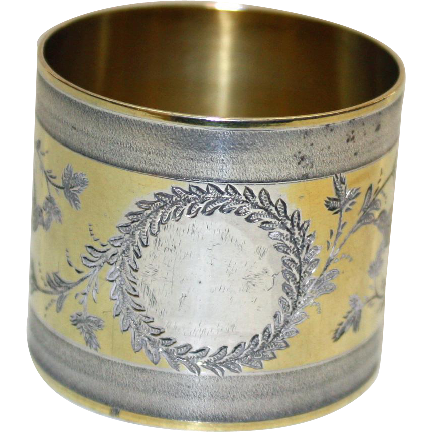 c 1875 coin silver antique napkin ring with gold wash
