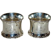 Pair 1904 English Sterling Hallmarked Napkin Rings - Harrison Family Crest &  Motto
