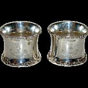 Pair 1904 Sterling Napkin Rings - Harrison Family Crest & Motto