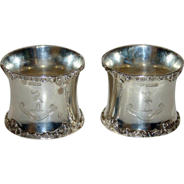 Pair 1904 Sterling Hallmarked Napkin Rings - Harrison Family Crest &  Motto