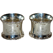 Pair 1904 English Sterling Napkin Rings - Harrison Family Crest and Motto