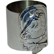 Antique Equestrian Russian Silver Napkin Ring with Hunt Theme