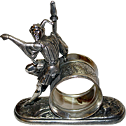 Antique Figural Napkin Ring: The Jester by Meriden: RARE American Silverplate