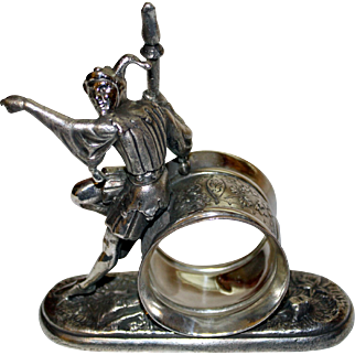 Antique Figural Napkin Ring: The Jester by Meriden: RARE