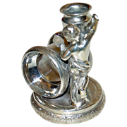 Antique Figural Napkin Ring with Draped Figure & Vase by Rockford Silver Plate Co.