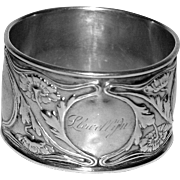 Gorham American Antique Sterling Silver Napkin Ring, Art Nouveau