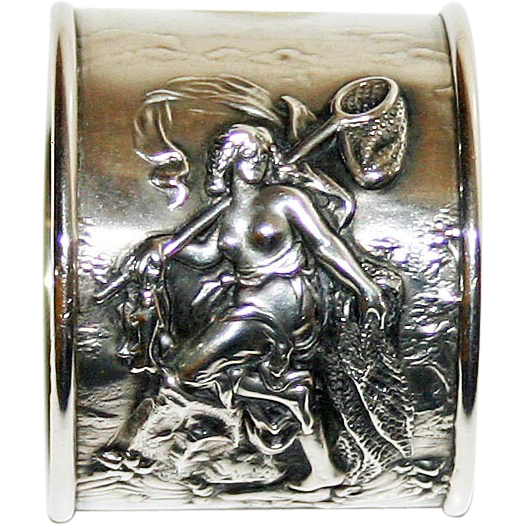 Antique American Sterling  Napkin Ring, Sea Goddess--Art Nouveau--Rare