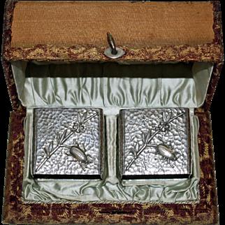 Pai Wood & Hughesr Sterling Beetle Napkin Rings for J. P. Morgan Family - Original Box - 1882